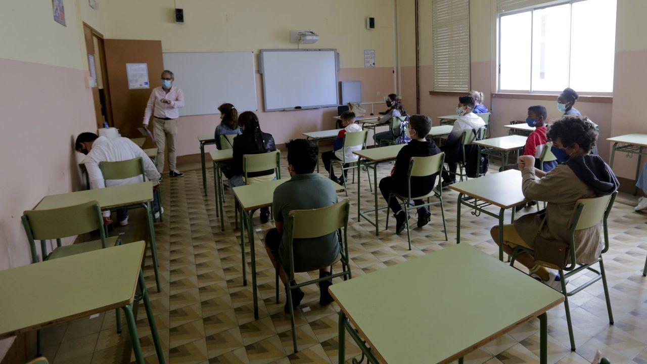 Un aula del IES Salvador de Madariaga en el inicio de este curso