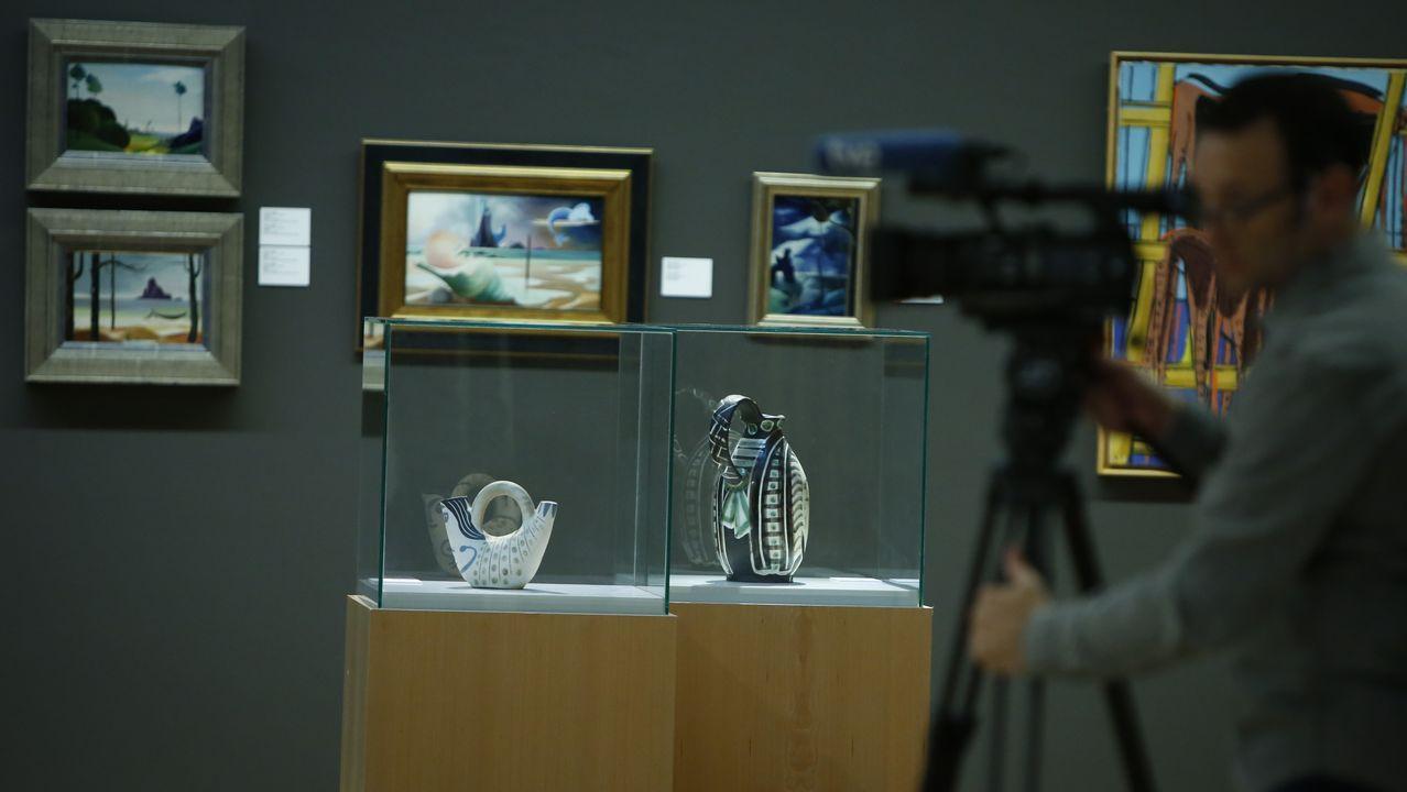 Las dos cerámicas de Picasso, en sendas vitrinas