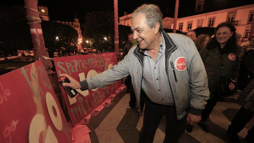 Pegada de carteles, con spray, de la plataforma LugoNovo