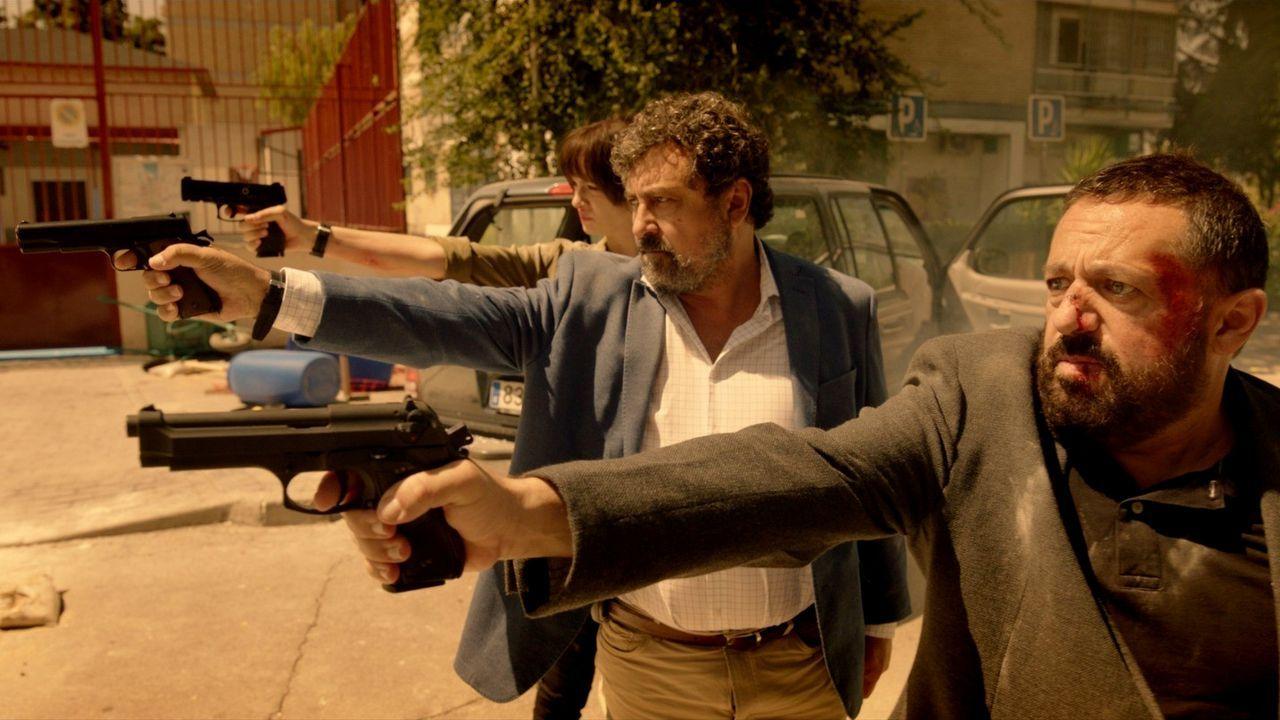 Miki Esparbé y Javier Gutiérrez, en la presentación de la serie