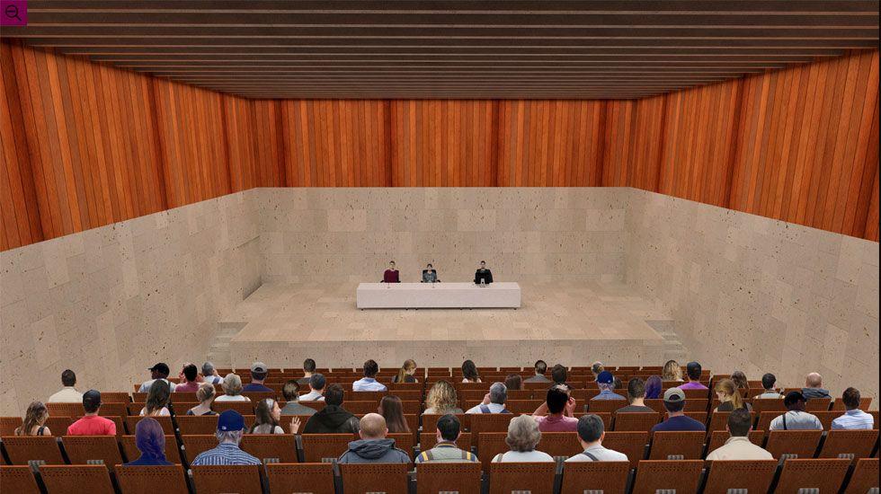 Simulación del salón de actos para 400 personas