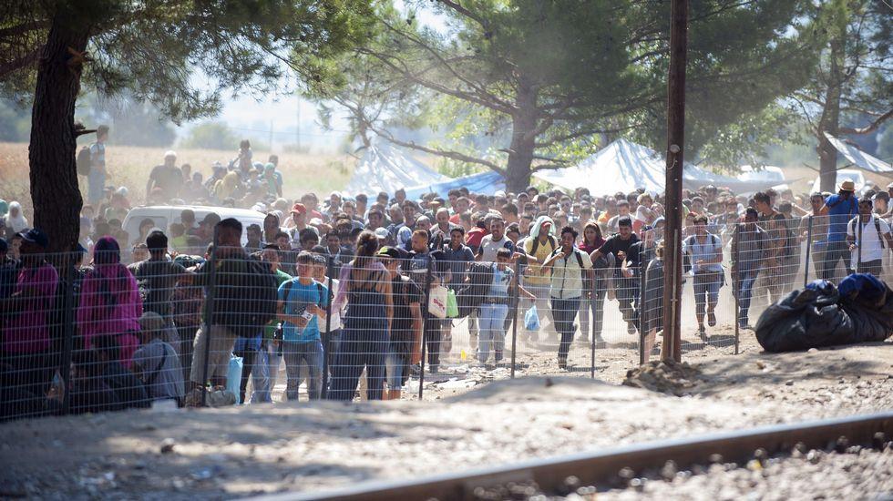Colas de inmigrantes junto a la policía de Macedonia esperando que les dejen pasar en la frontera entre Grecia y Macedonia