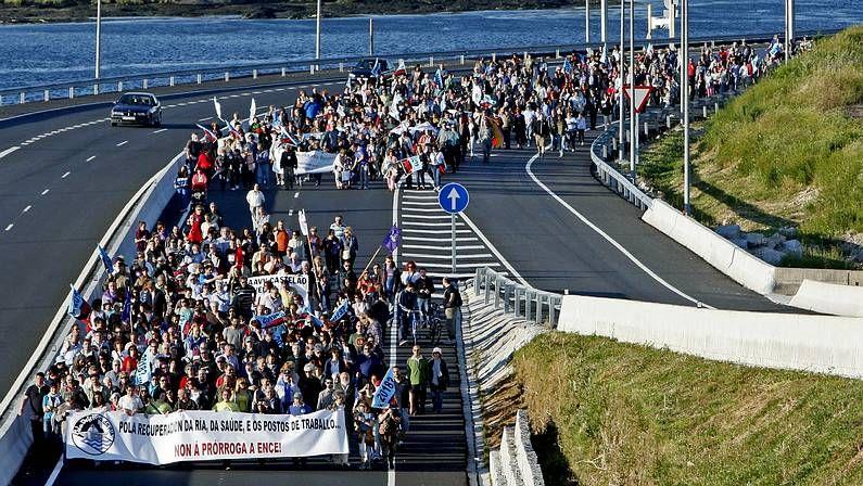 Pregón de Pedre.La plantilla protagonizó varias protestas ante la Xunta para reclamar su intervención.