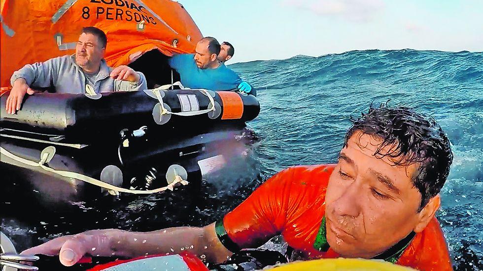 Así fue el espectacular rescate de los ocho tripulantes del pesquero incendiado en Cedeira