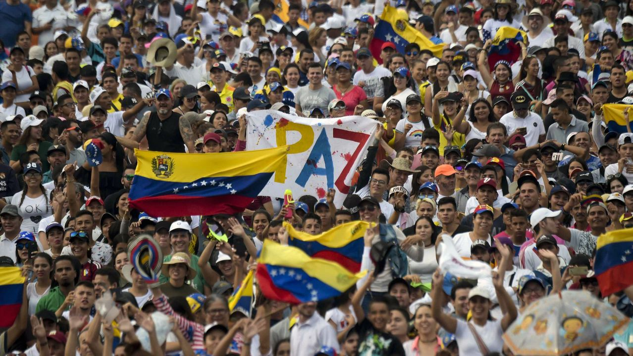 El presidente de Chile, Sebastián Piñera; el presidente de Colombia, Iván Duque; el jefe del Parlamento venezolano, Juan Guaidó; el presidente de Paraguay, Mario Abdo Benitez, participan en el concierto por Venezuela en Cúcuta
