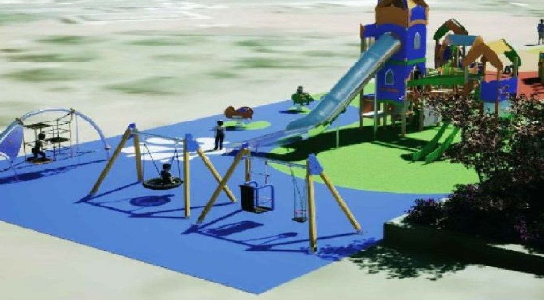 Recreación virtual de cómo quedará el nuevo parque infantil de la plaza Europa de O Burgo