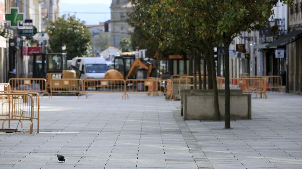 La calle Cardenal, principal zona comercial de Monforte, totalmente vacía por la alerta sanitaria
