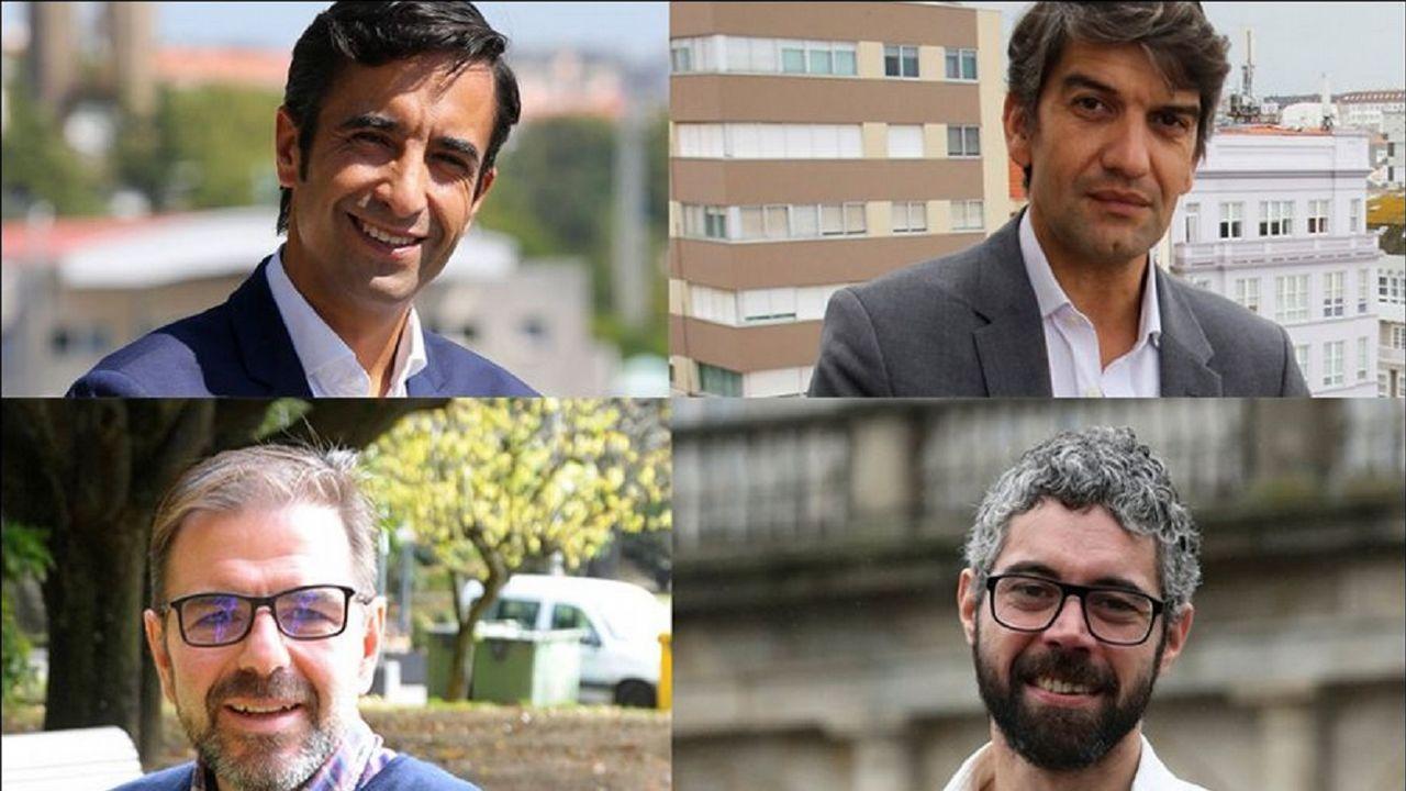 Gonzalo Rodríguez: «Si queremos que a política sexa distinta temos que dar exemplo».Rodríguez, Fernán Vello, Díaz y Gómez Reino aplauden desde tres filas más adelante que Fernández