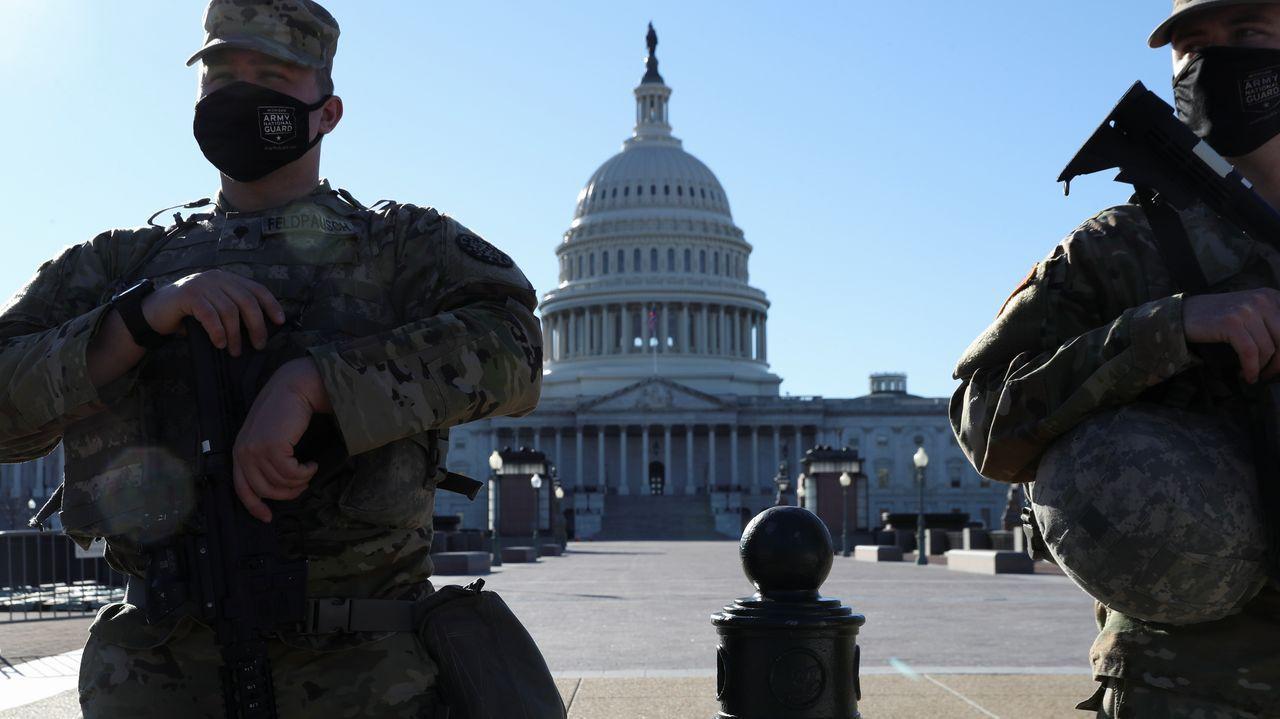 La Guardia Nacional vigila el Capitolio, en una imagen del 4 de marzo del 2021. La seguridad en torno a la sede del poder legislativo de Estados Unidos fue reforzada desde el asalto del 6 de enero