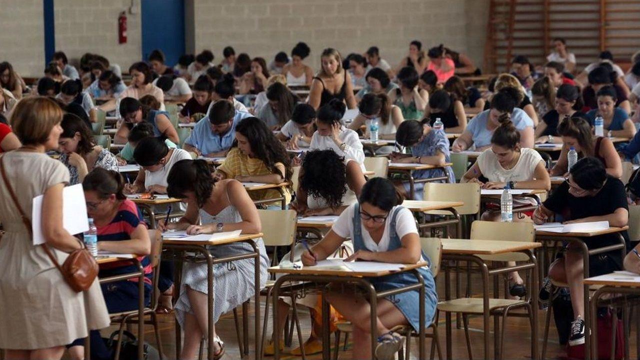 Examen de las oposiciones de educación celebrado en Ourense en el 2019, la última vez que se realizaron estas pruebas en Galicia