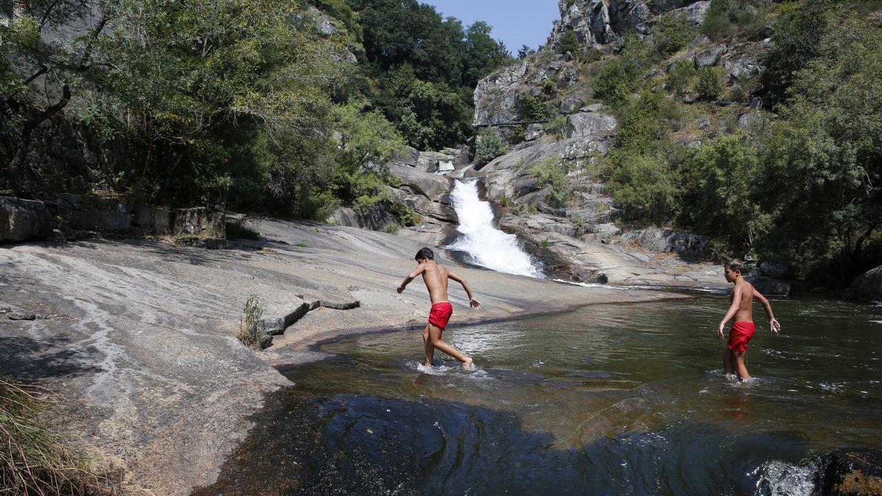La cascada de Segade, en Caldas de Reis, en una imagen del verano del 2018
