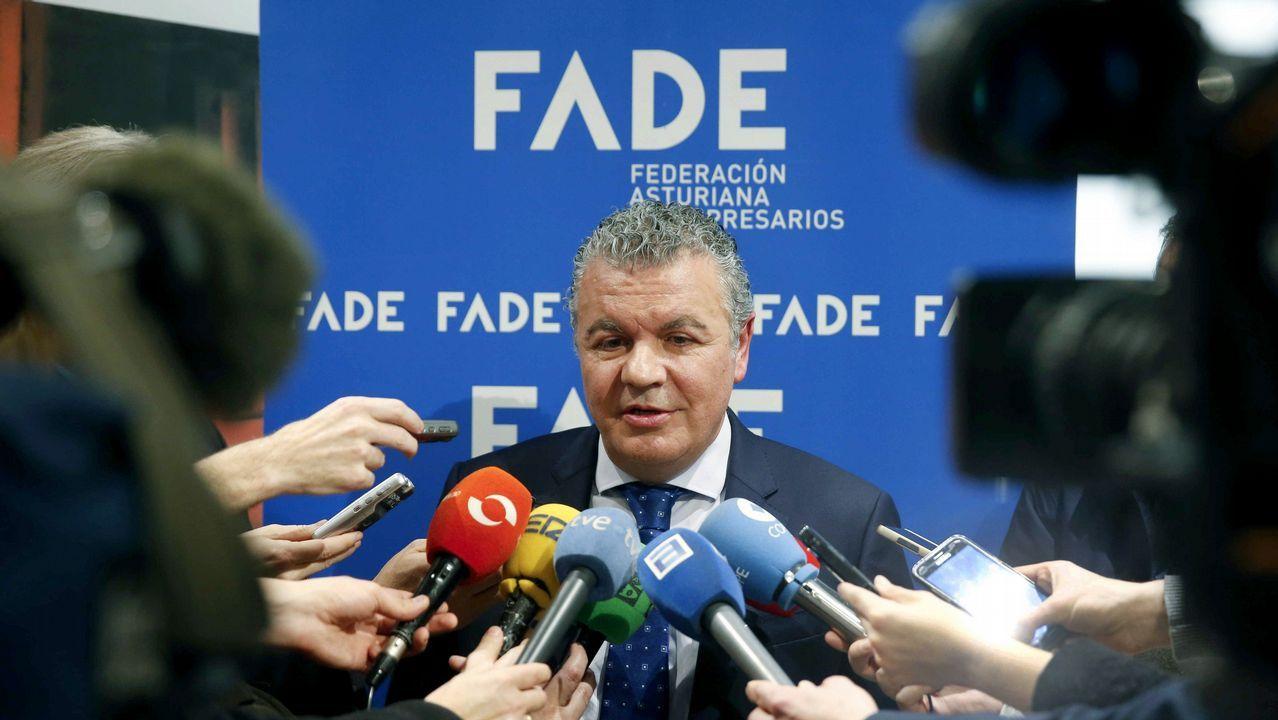 Bandera de Asturias.El fundador de Asturfeito, Belarmino Feito, atiende a los medios tras ser elegido hoy nuevo presidente de la Federación Asturiana de Empresarios (FADE)