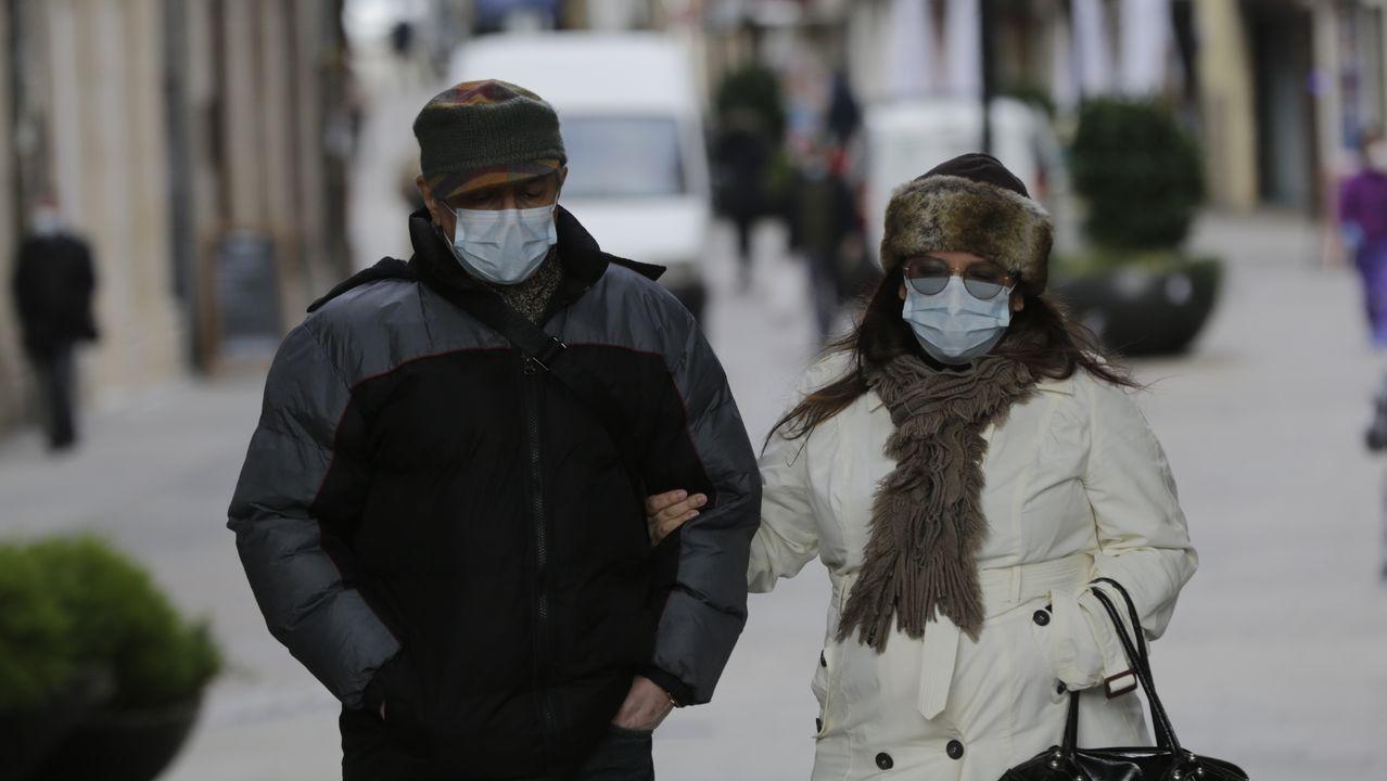 Día de frío en las calles de A Coruña