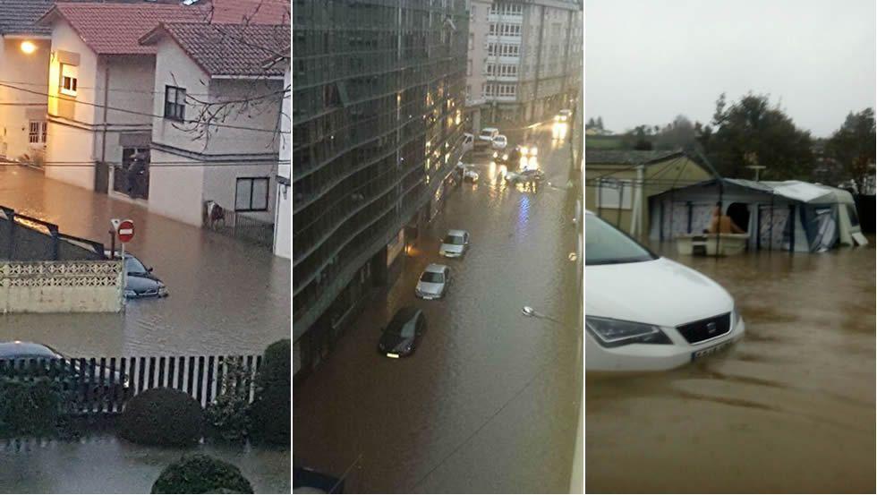 Inundaciones en Sada Lluvias en A Coruña y comarca