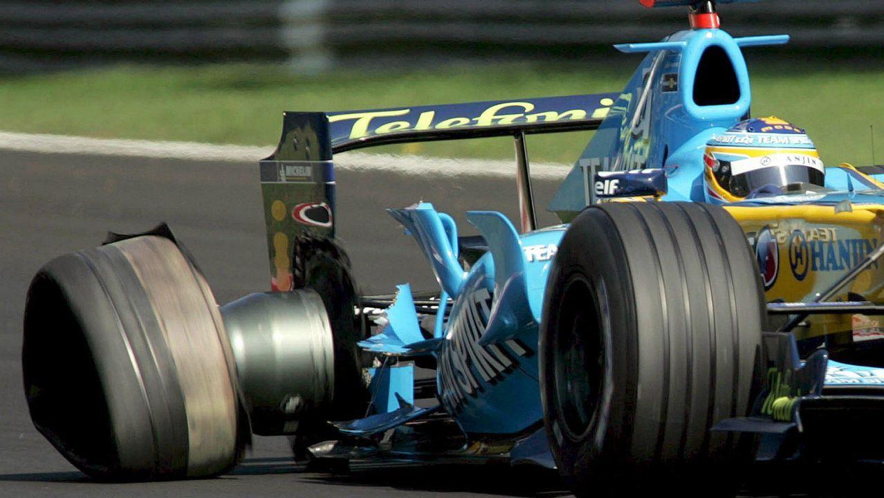 Alonso perdiendo una rueda en Monza