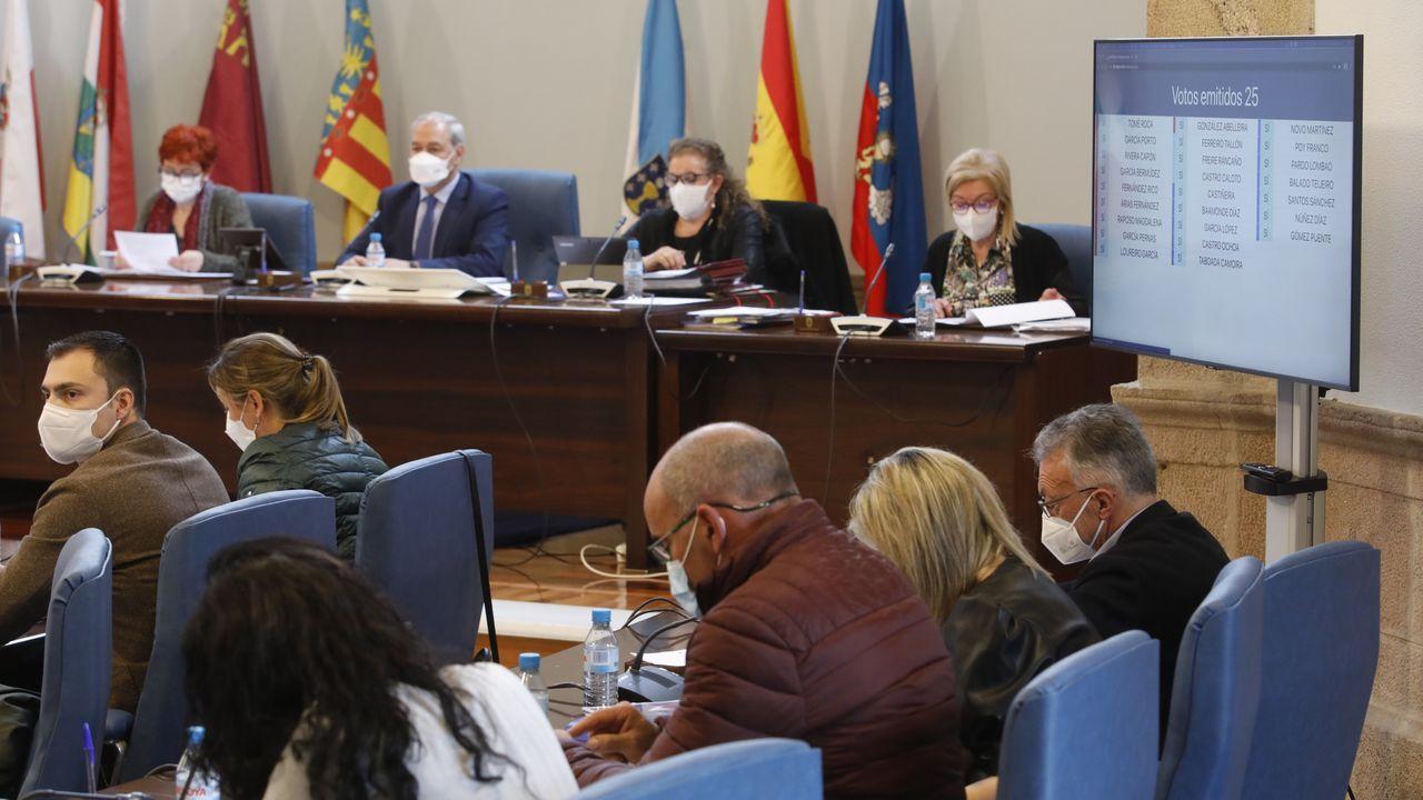 Buenos y malos ejemplos de intervenciones en plazas y calles de Lugo.Pantalla con la votación del plenario de la Diputación de Lugo