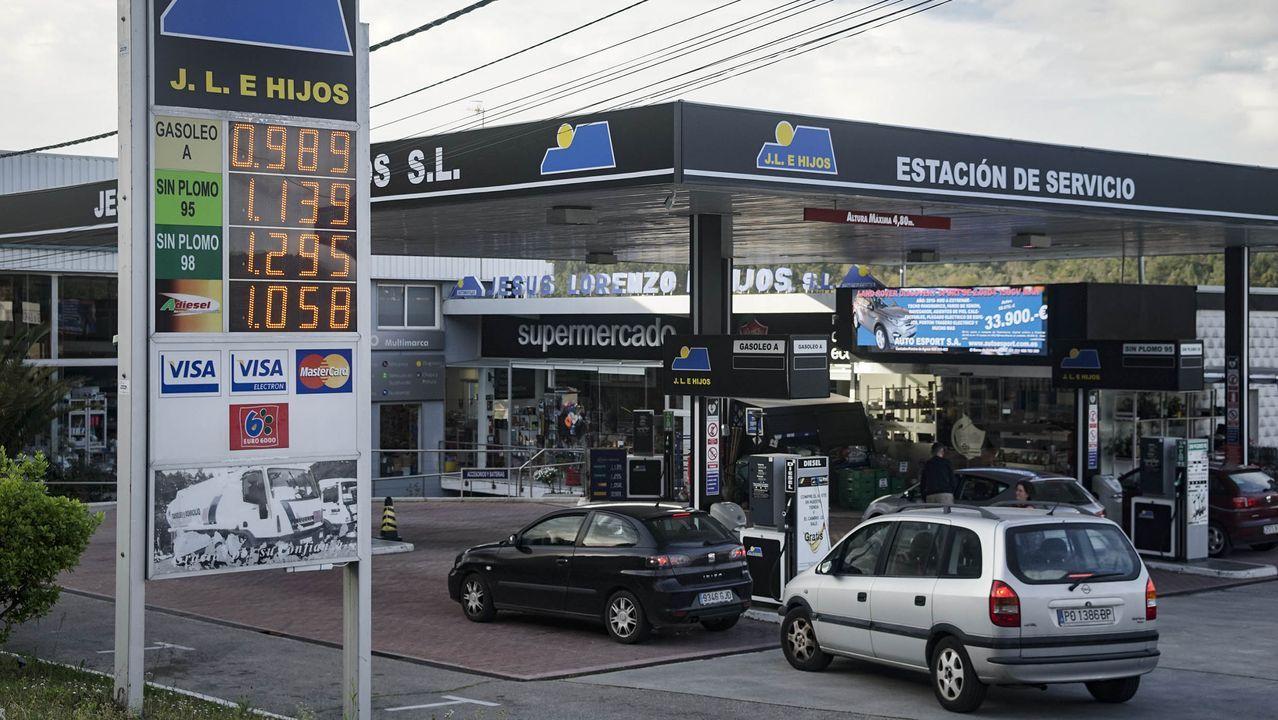 Petirrojo casero.La bajada en los precios animo a los clientes a acudir a las gasolineras. En la imagen, la más barata de la provincia en Castadón