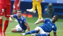 Ibra Joselu Real Oviedo Osasuna Carlos Tartiere.Ibra y Joselu, durante una acción ante Osasuna