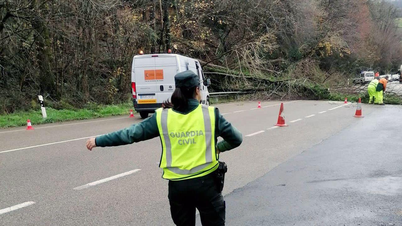 Una agente de la Guardia Civil regula la circulación en la N-634, en Parres, donde se ha producido un desprendimiento