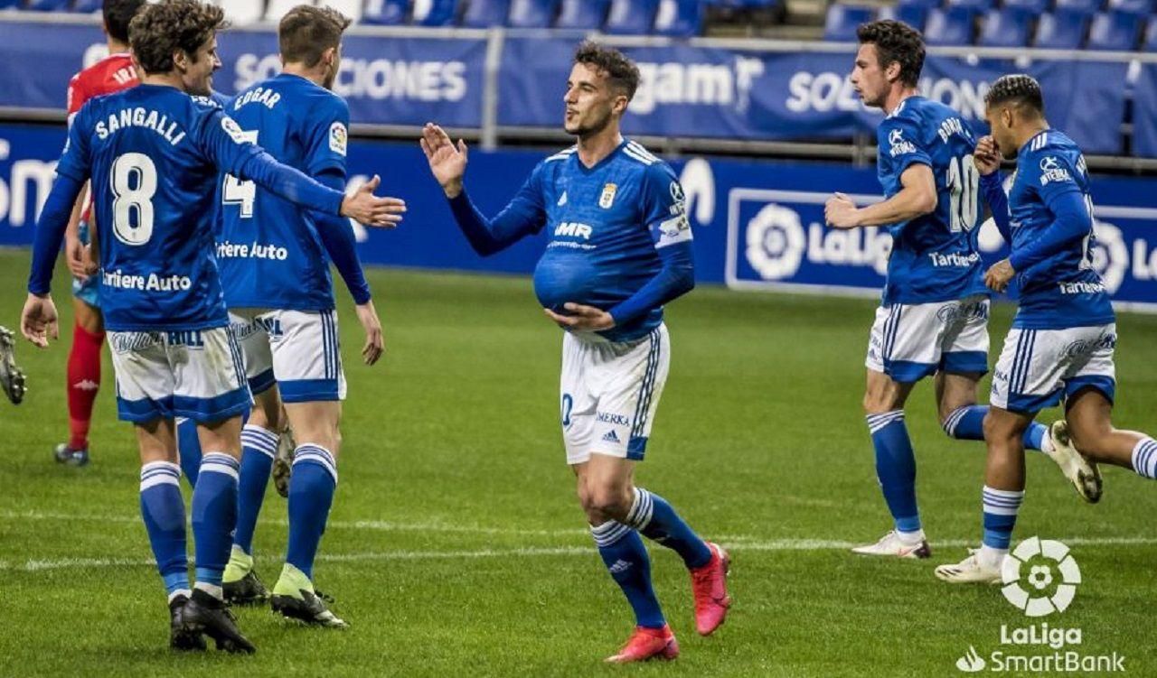 gol Tejera Sangalli Real Oviedo Lugo Carlos Tartiere.Sergio Tejera celebra con Marco Sangalli su gol ante el Lugo