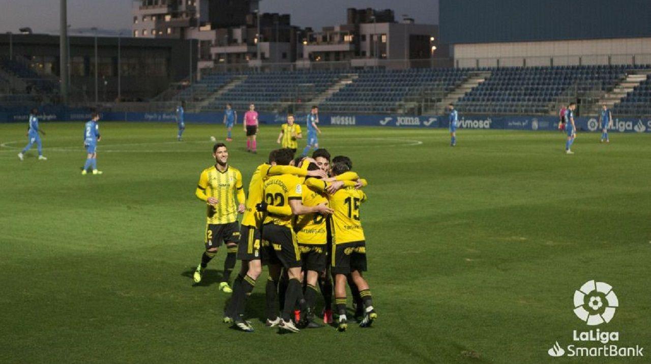 La trayectoria de Sopas en imágenes.Los jugadores del Oviedo celebran el gol de Sangalli al Fuenlabrada