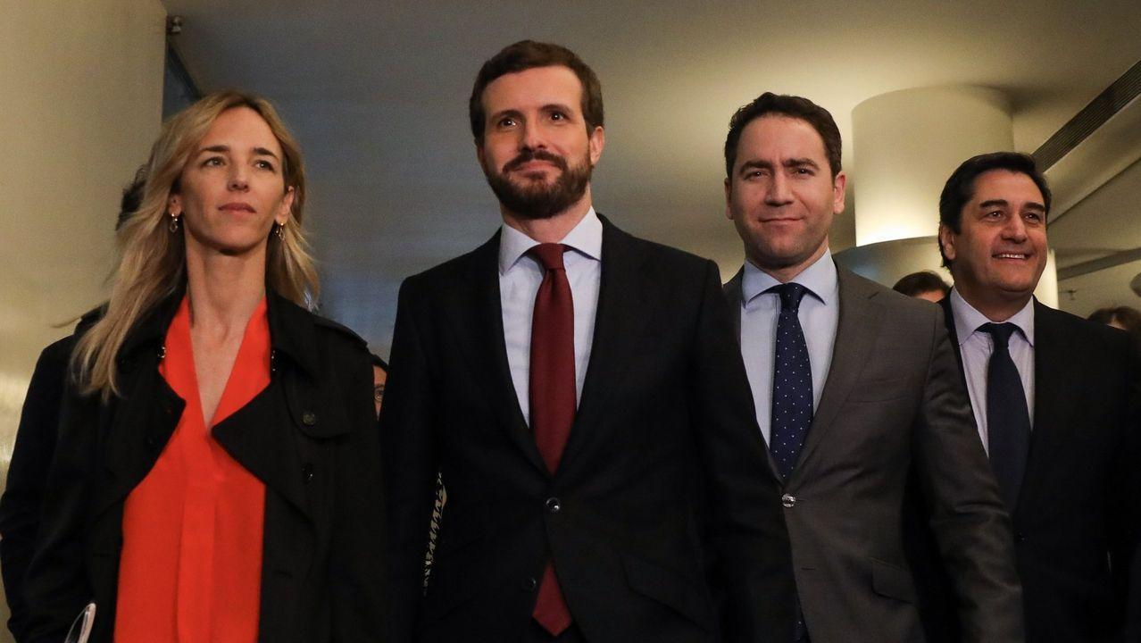 Álvarez de Toledo, Casado, García Egea y Echániz a su llegada a la reunión plenaria del grupo parlamentario popular