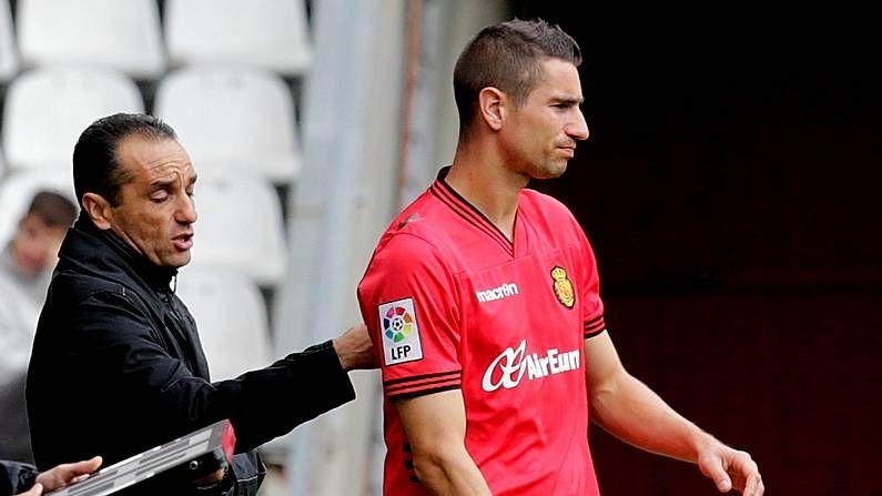 Oltra, en Riazor como entrenador del Mallorca