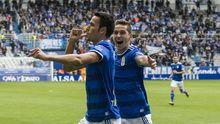 Gol Folch Javi Hernandez Real Oviedo Albacete Carlos Tartiere.Folch y Javi Hernandez celebran el primer gol azul