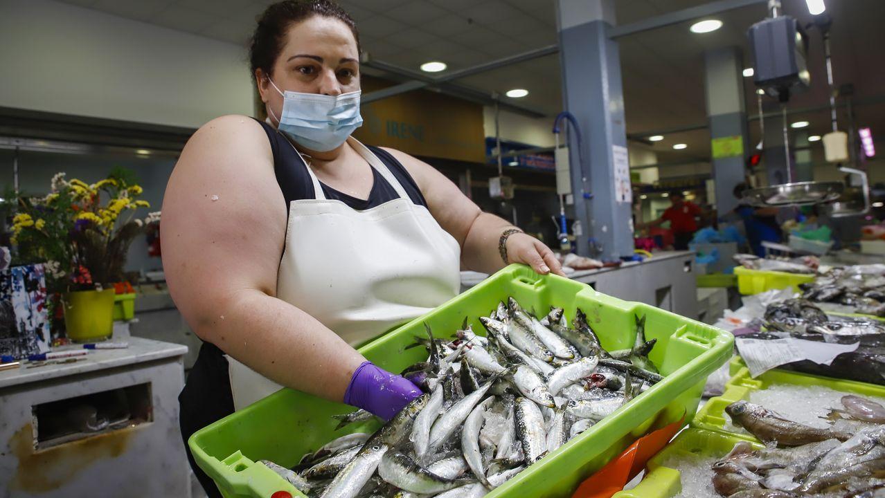 Un grupo de pasajeros consulta los vuelos en el Aeropuerto de Asturias.Las sardinas volaron de los puestos en los días de San Xoán