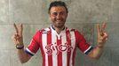 Luis Enrique celebra la victoria del Sporting