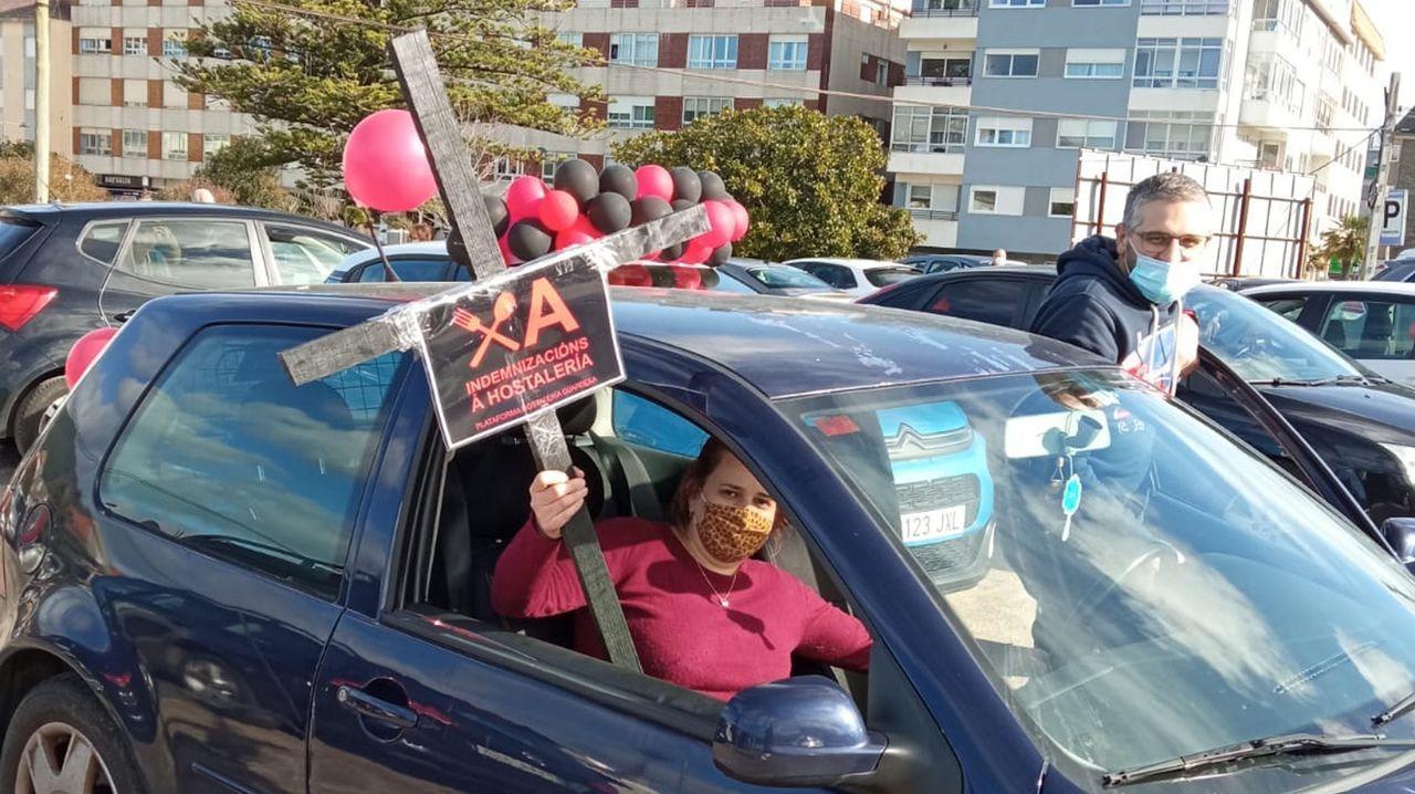 Imagen de la protesta de los hosteleros de Betanzos el pasado 18 de febrero