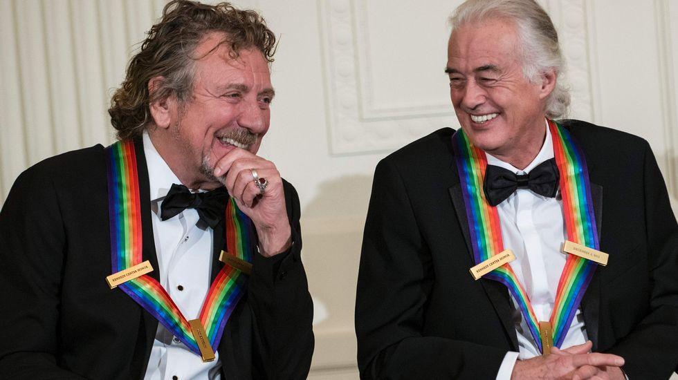 Robert Plant y Jimmy Page, durante una evento en la Casa Blanca