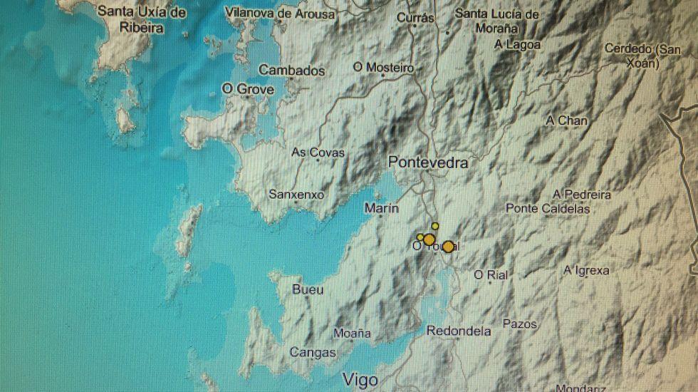 Imagen del Instituto Geográfico Nacional con la localización de los cinco terremotos registrados en Vilaboa este miércoles