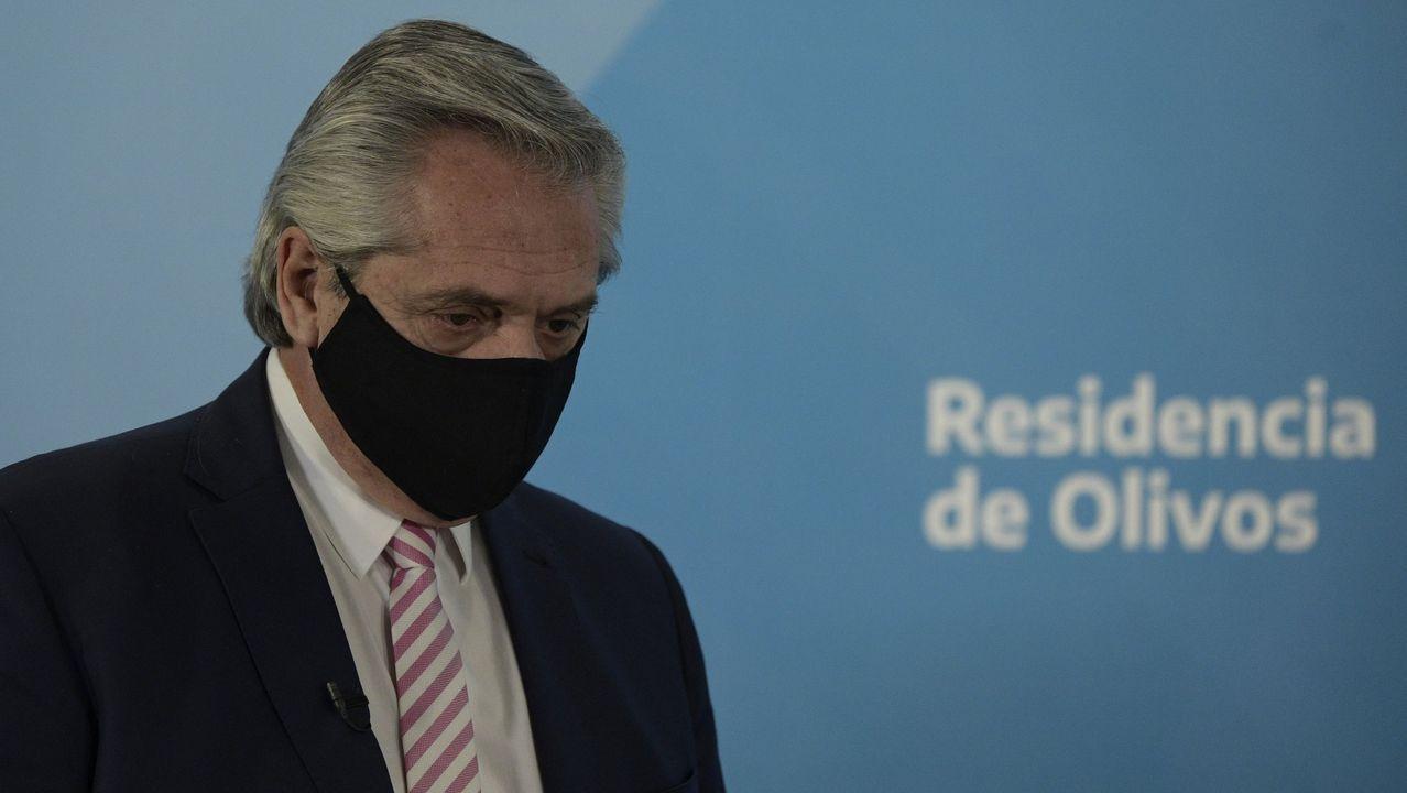 El presidente de Argentina, Alberto Fernández, en una comparecencia en la la residencia presidencial de Olivos