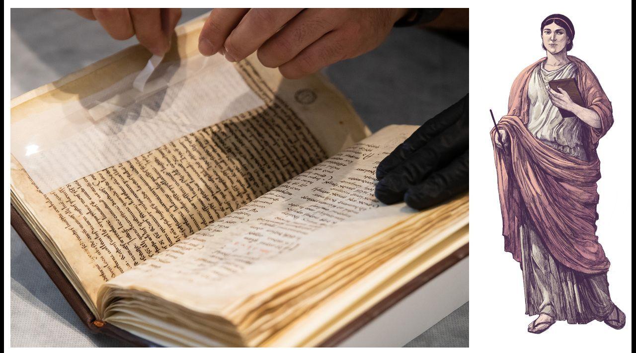Técnicos do Gaiás preparan o manuscrito chegado dende a Biblioteca de Arezzo para a súa exhibición na mostra «Galicia, un relato no mundo». Á dereita, recreación da autora do relato, Exeria