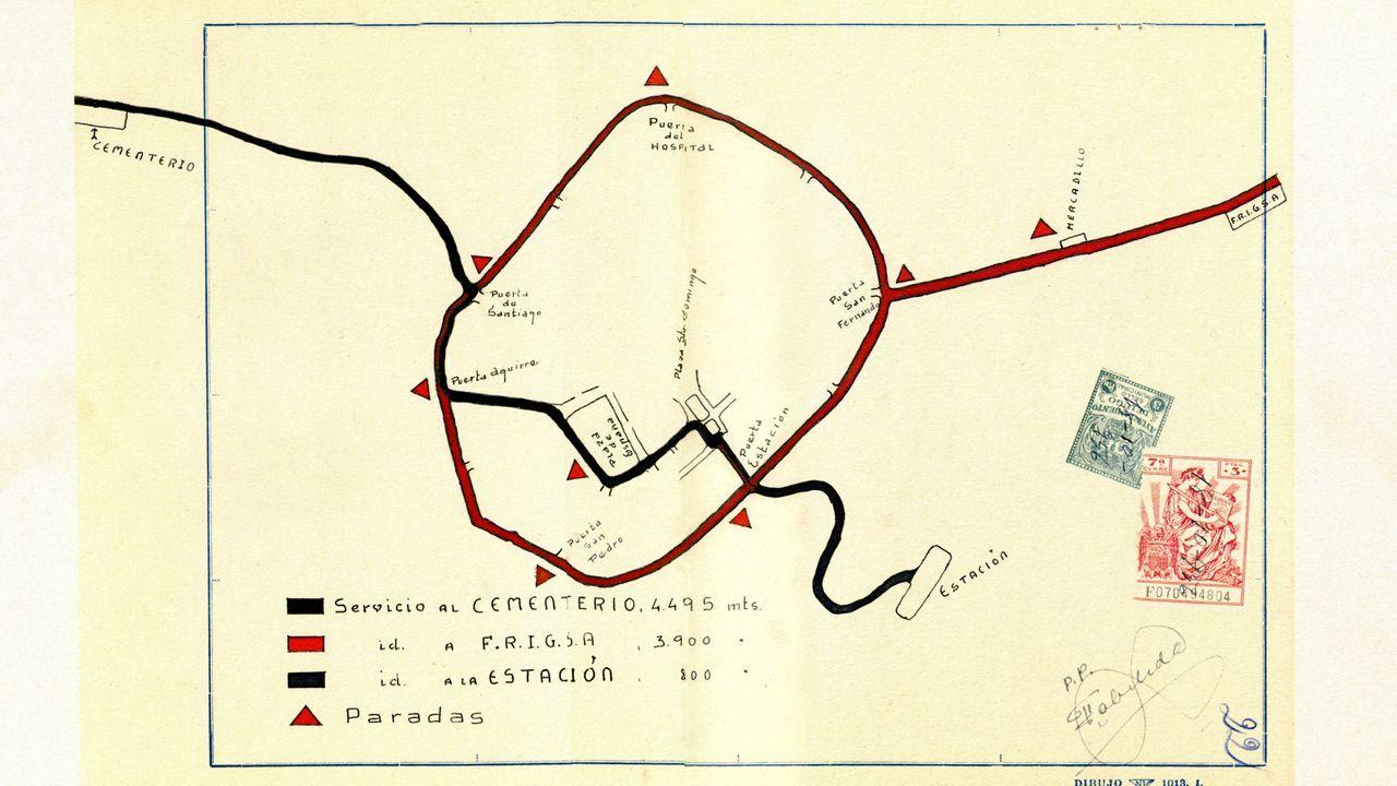 Itinerario que recolle as liñas de bus que había no ano 1948 en Lugo