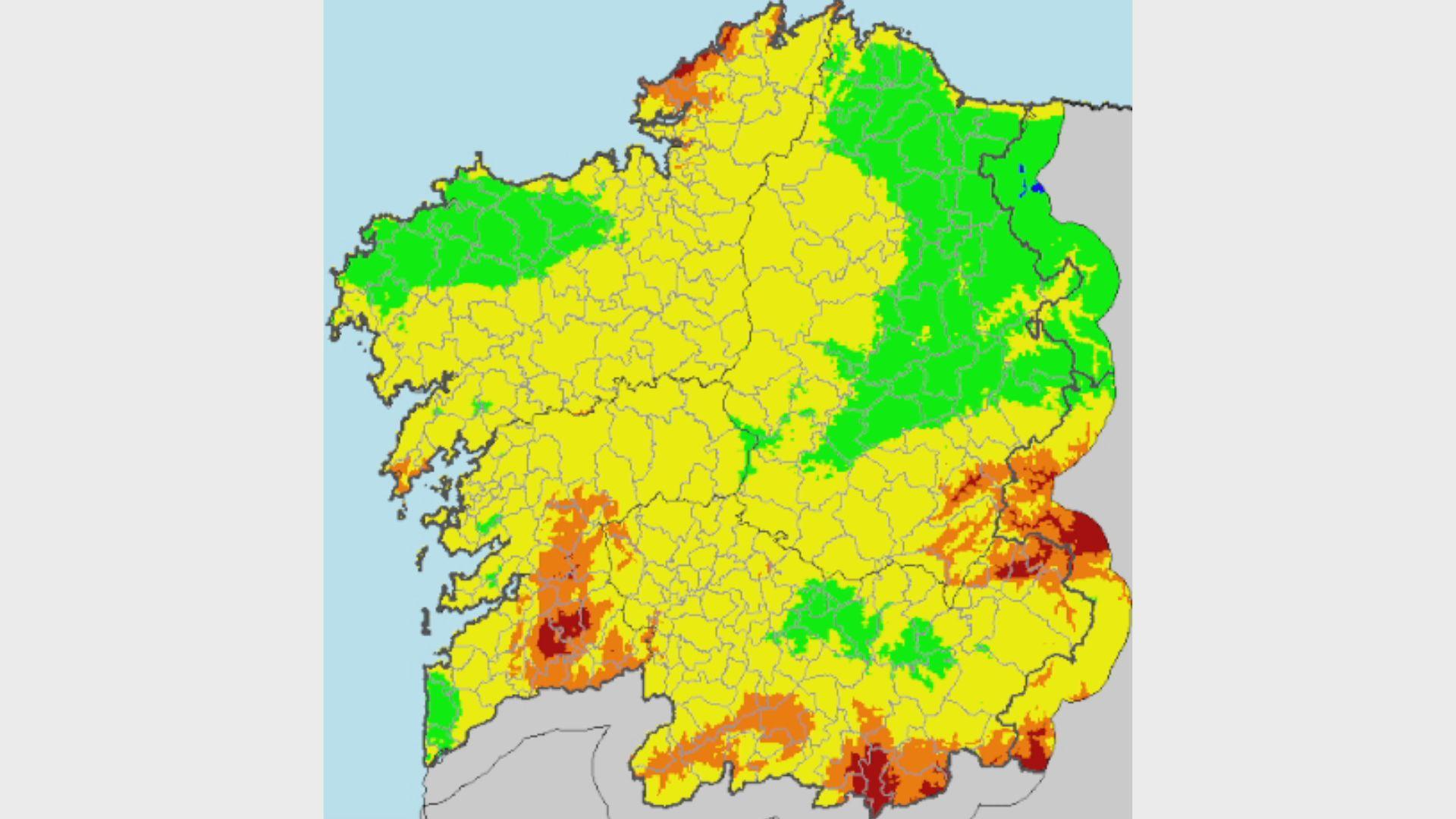 Mapa con el índice de riesgo diario de incendio forestal para el miércoles 27 de marzo