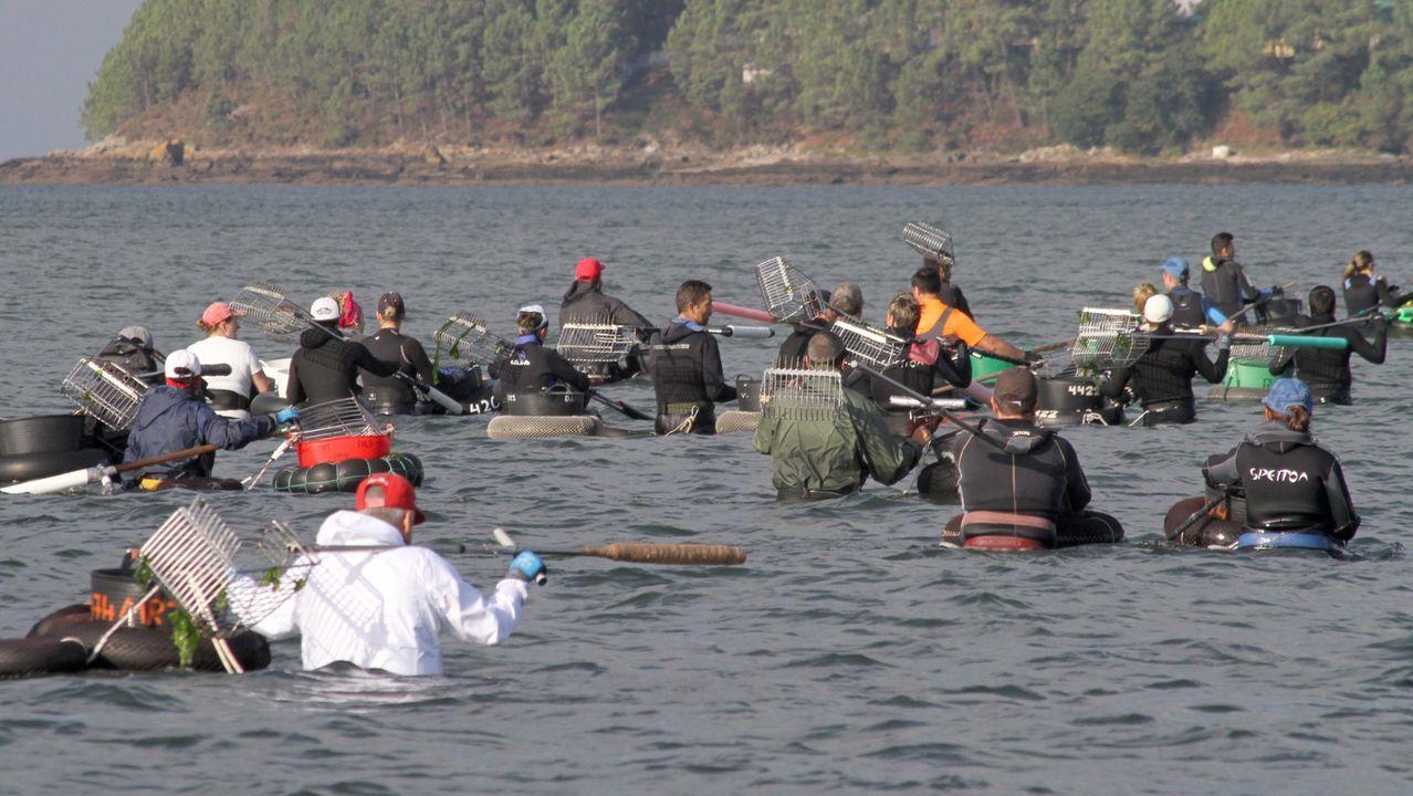 Por iniciativa de la cofradía de Noia, mariscadores de a pie, en la imagen de archivo, cobrarán por retirar residuos de la ría