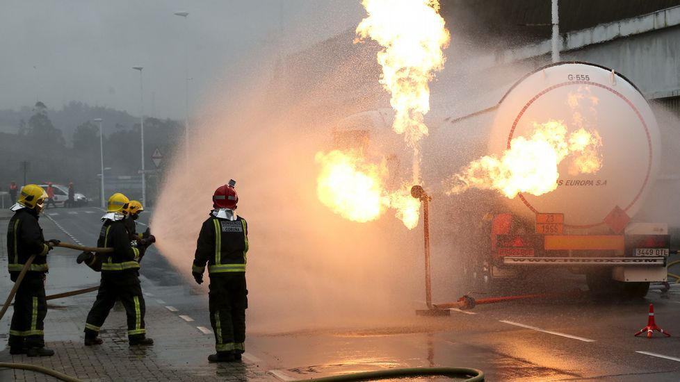 Simulacro accidente con mercancías peligrosas de La Grela
