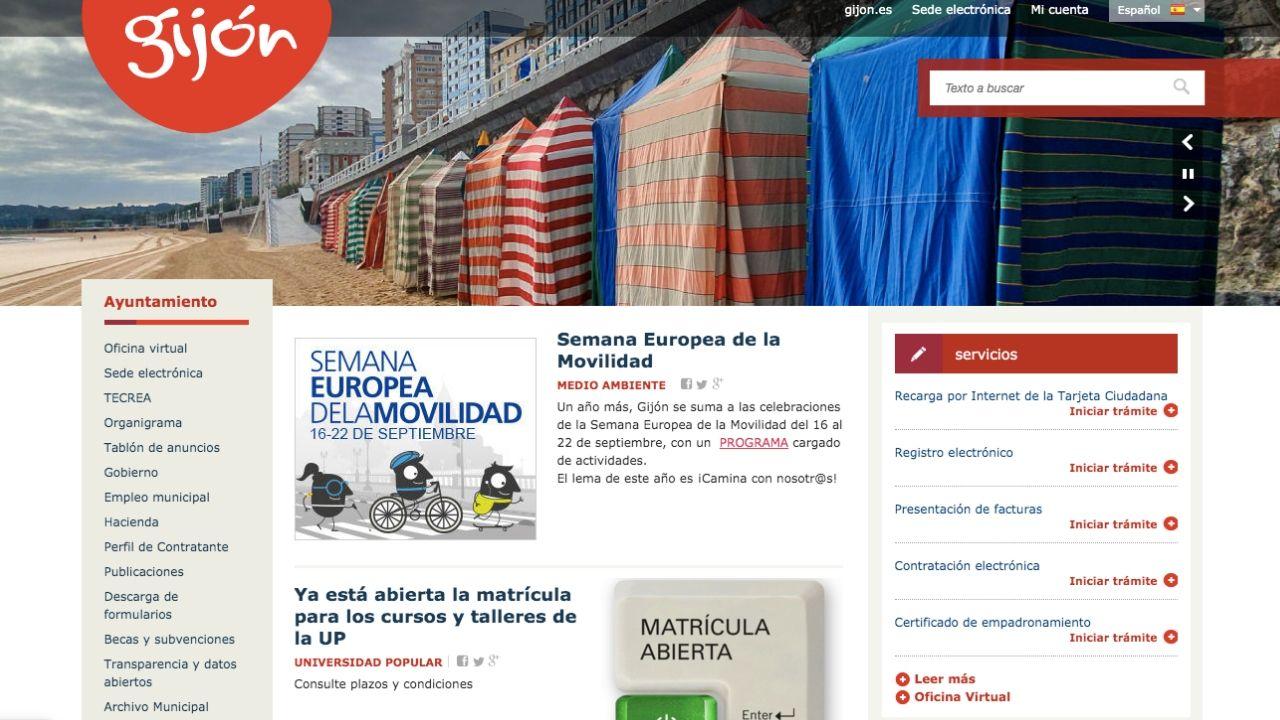 La web del Ayuntamiento de Gijón