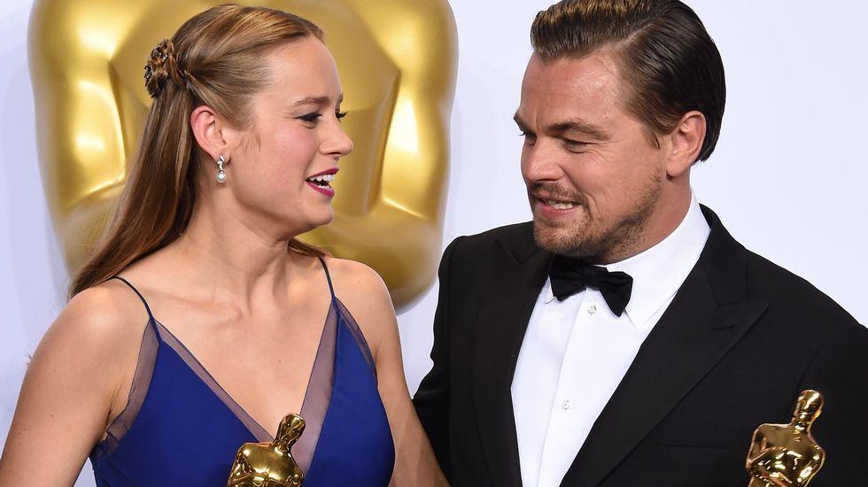 Otra imagen de Brie Larson y Leonardo DiCaprio