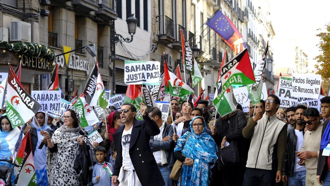 Manifestación en apoyo a la autodeterminación del Sáhara celebrada en Madrid en 2018