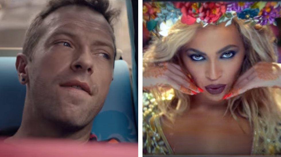 El Himno para el fin de semana de Coldplay y Beyoncé, «Hymn for the Weekend».Un niño juega en la Fan Zone de San Francisco