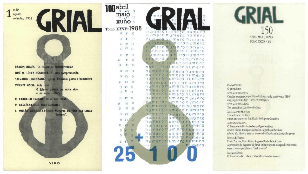 Portadas dos números 1, 100 e 150 de «Grial»