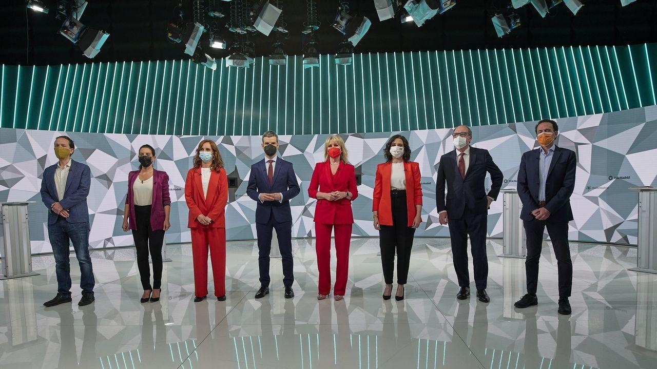 Candidatos a la presidencia de la Comunidad de Madrid en el debate electoral.
