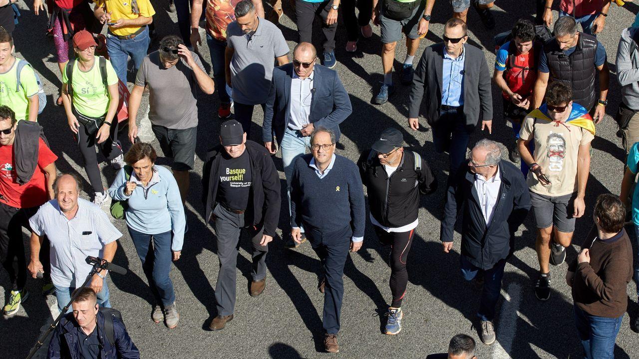 Torra junto al exlendakari Ibarretxe en una de las cinco marchas independentistas iniciadas esta mañana