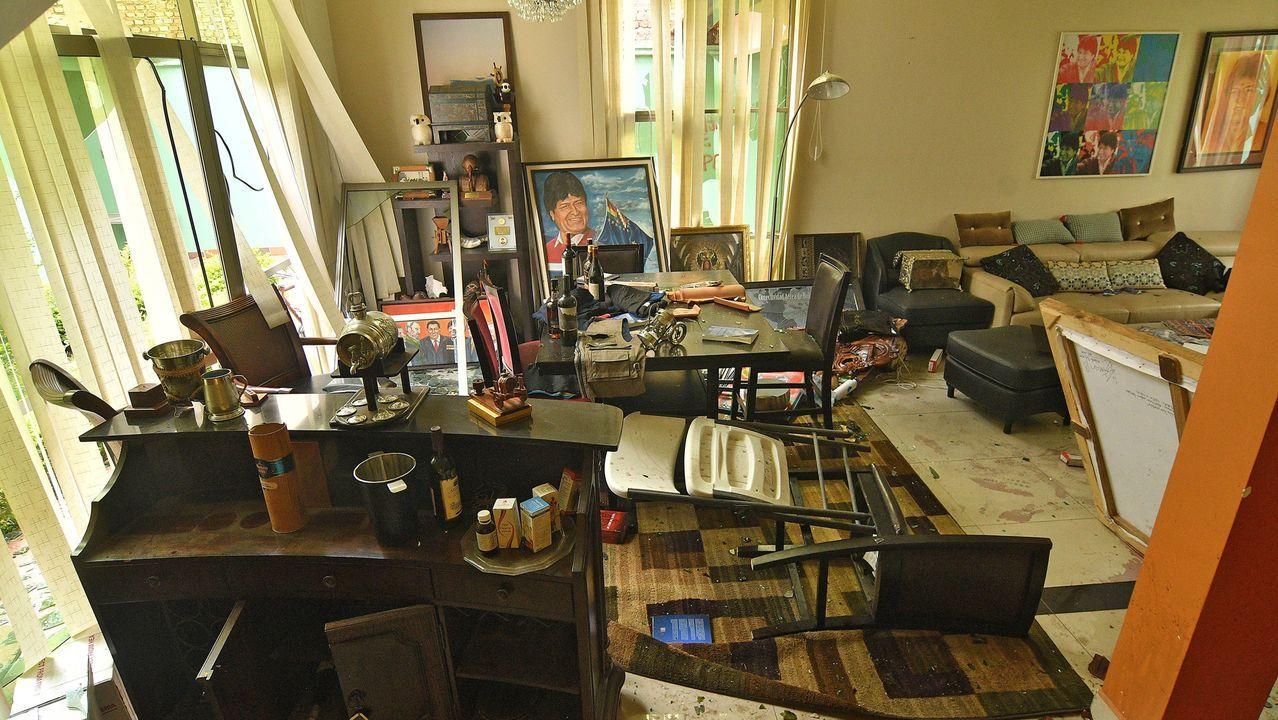 Asi quedó la casa de Evo Morales en la ciudad de Cochabamba, tras ser saqueada por manifestantes