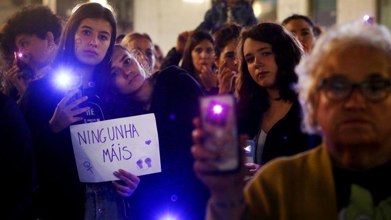 Manifestación feminista celebrada ayer en Pontevedra