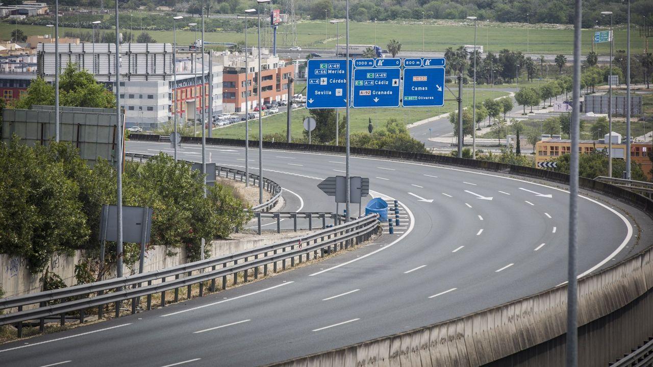 Imagen de las carreteras de salida de Sevilla a Huelva el pasado día 8 por la tarde