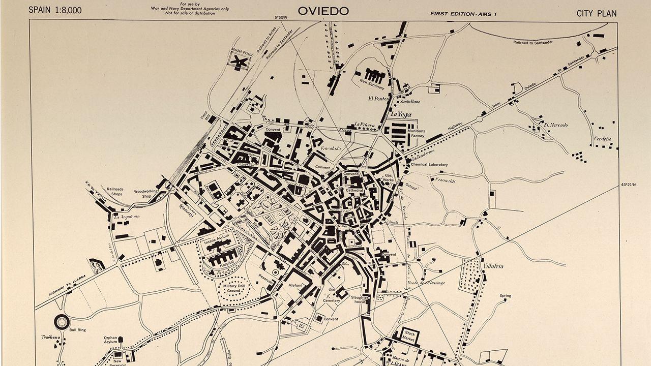 Mapa de Oviedo en la Segunda Guerra Mundial
